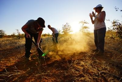 Volunteers working at the Conservation project in Botswana